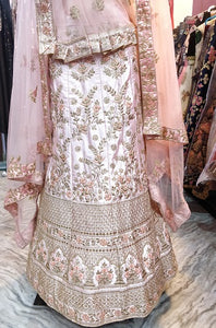 L82, Peach Pastel Golden Thread Work Bridal Lehenga, Size (XS-30 to XL-40)
