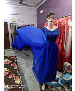 G300,(2) Royal Blue prewedding top lace work georgette long trail Gown, Size - (XS-30 to XXL-44)
