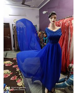G300,(4) Royal Blue prewedding top lace work georgette long trail Gown, Size - (XS-30 to XXL-44)