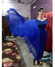 Load image into Gallery viewer, G300,(4) Royal Blue prewedding top lace work georgette long trail Gown, Size - (XS-30 to XXL-44)