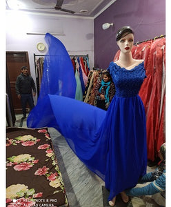 G300,(2) Royal Blue maternity top lace work georgette long trail Gown, Size - (XS-30 to XL-40)