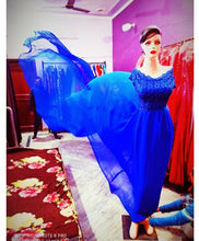 Load image into Gallery viewer, G300,(2) Royal Blue prewedding top lace work georgette long trail Gown, Size - (XS-30 to XXL-44)
