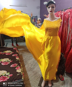 G278, Yellow Satin Long Trail Maternity Shoot Gown, Size - (XS-30 to XL-40)