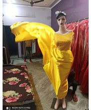 Load image into Gallery viewer, G278, Yellow Satin Long Trail Prewedding Shoot Gown, Size - (XS-30 to XL-40)