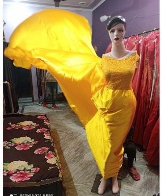 G278, Yellow Satin Long Trail Prewedding Shoot Gown, Size - (XS-30 to XL-40)