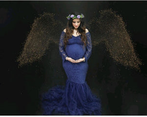 G221, Navy Blue Fish Cut Maternity Shoot Baby Shower Gown, Size (XS-30 to XL-44)