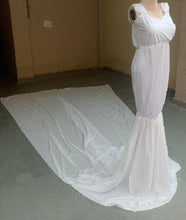 Load image into Gallery viewer, G47, White Maternity Baby Shower Long Trail Gown, Size (XS-30 to XXL-44)