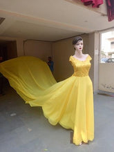 Load image into Gallery viewer, G378 Yellow maternity Shoot Long Trail Gown, Size (XS-30 to XXL-44)