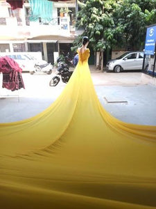 G378 Yellow maternity Shoot Long Trail Gown, Size (XS-30 to XXL-44)