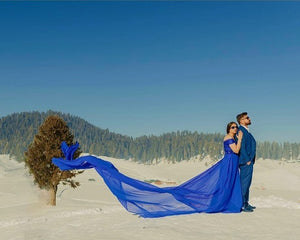 G300 (12), Royal Blue Long Trail Maternity Shoot Baby Shower Gown,  Size - (XS-30 to XXL-44)