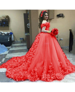 G537, Luxury Red Flower Prom PreWedding trail Gowns, Size (XS-30 to L-38)