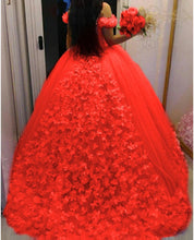Load image into Gallery viewer, G537, Luxury Red Flower Prom PreWedding trail Gowns, Size (XS-30 to L-38)