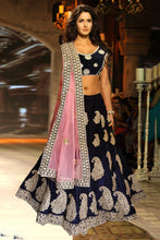 Load image into Gallery viewer, L18, Katrina Navy Blue Velvet Dabka Work Lehenga, Size (XS-30 to XL-40)