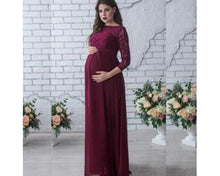 Load image into Gallery viewer, G119, Wine Color Aline Maternity Shoot Gown,  Size (XS-30 to XXL-42)