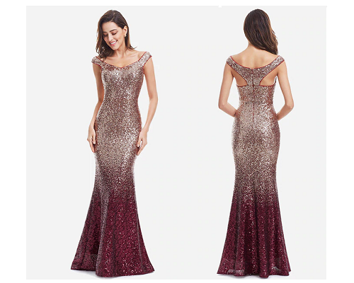 G157, Golden Copper Magenta Mermaid Cocktail Evening Gown, Size (XS-30 to L-36),