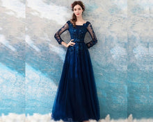 Load image into Gallery viewer, G225, Navy Blue Full Sleeves Gown, Size (XS-30 to XXL-44)