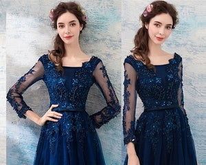 G225, Navy Blue Full Sleeves Gown, Size (XS-30 to XXL-44)