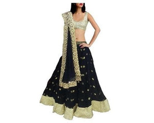 L68, Navy Blue Georgette Lehenga, Size (XS-30 to XL-40)