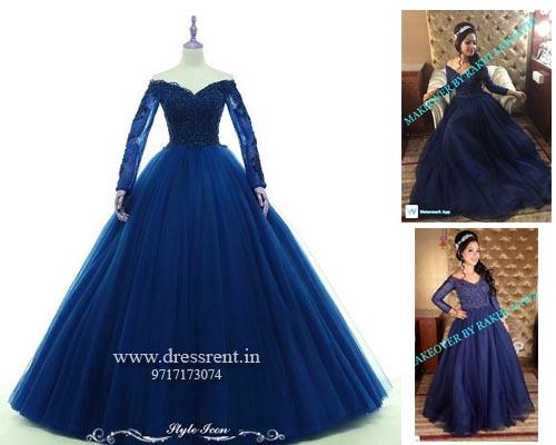 G145, Navy Blue Semi off shoulder Ball  Gown, Size (XS-30 to XL-40)