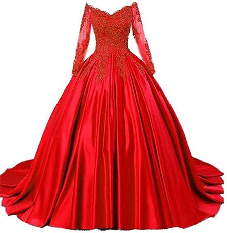 G529, Red Satin Semi Off Shoulder Full Sleeves Prewedding Shoot Trail Ball Gown, Size (XS-30 to L-36)