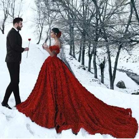 G437, Luxury Red Lace Foral PreWedding Long trail Gowns, Size (XS-30 to L-38)