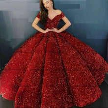 Load image into Gallery viewer, G337, Red Luxury Sequence Quinceanera Ball gown, Size (XS-30 to L-38)
