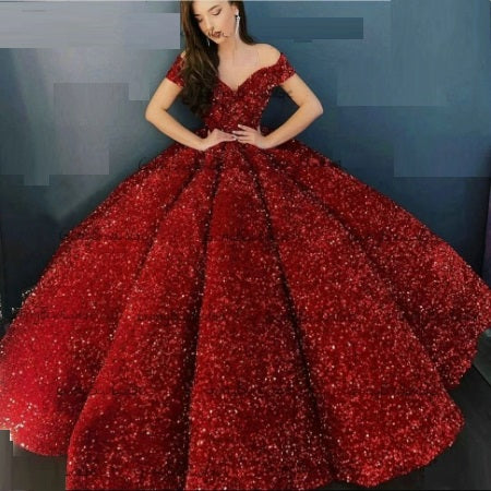 G337, Red Luxury Sequence Quinceanera Ball gown, Size (XS-30 to L-38)