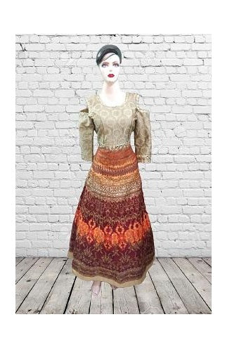 Orange Cold Shoulder Gown, Size (XS-30 to L-38), G100,