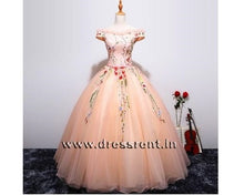 Load image into Gallery viewer, G11, Peach Floral Ball Gown, Size (XS-30 to L-38)