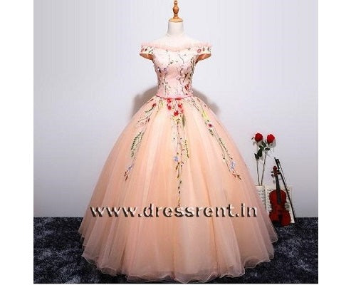 G11, Peach Floral Ball Gown, Size (XS-30 to L-38)