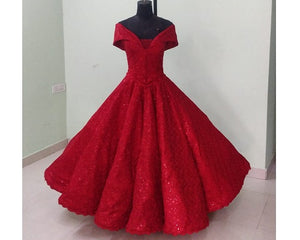 G121,  Luxury Red Carpet Red Off Shoulder Big Ball gown, Size (XS-30 to XL-40)