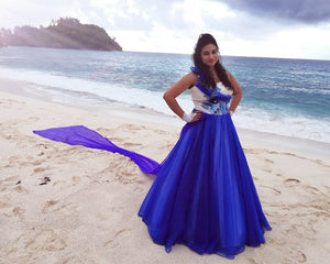 G166, Blue Prewedding Ball Gown, Size (XS-30 toL-38)