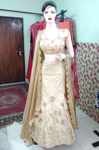L9, Golden Lehenga, Size (XS-30 to XL-40)