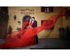 G129 (3), Red Offshoulder Half Sleeves Infinity Prewedding Shoot Trail Ball Gown, Size (XS-30 to L-38)