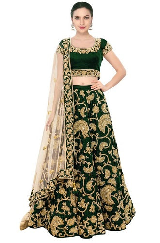 L33, Green Embroidered Lehenga, Size (XS-30 to XL-40)