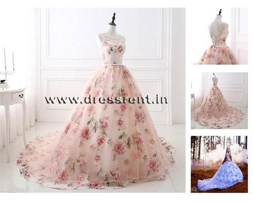 Light Pink Floral Ball Gown with Trail, Size (XS-30 to XXXL-46)