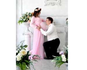 G156 (2),Pink Maternity Shoot Trail Baby Shower Gown, Size (XS-30 to XXL-44), Booked till oct 5