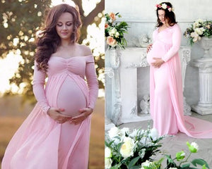 G156 (5) Pink Maternity Shoot Trail Baby Shower Gown, Size (XS-30 to XXL-44),
