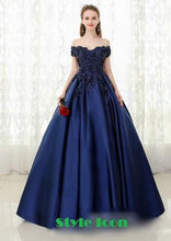 Load image into Gallery viewer, G132 (2), Navy Blue Satin Off Shoulder Trail Ball gown,  Size (XS-30 to XL-40),   G132 (A) Booked from 9/10 to 17/10