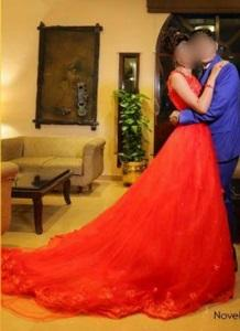 G141, Red Trail Gown Prewedding Shoot, Size (XS-30 to XL-40)