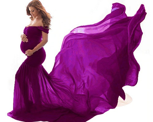 G218, Purple Maternity Shoot Trail Baby Shower Gown, Size (XS-30 to XXL-44)