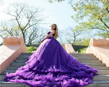 Load image into Gallery viewer, G240, Luxury Purple Ruffle Long Trail Ball Gown,  Size - (XS-30 to XL-40)