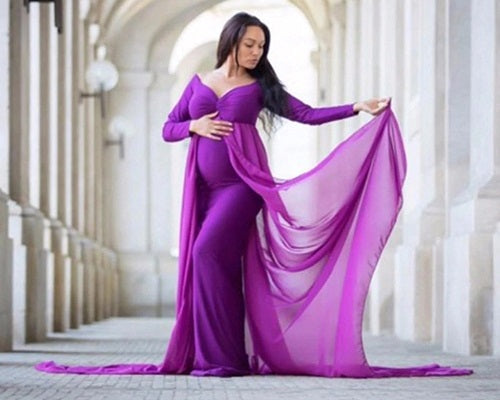 G41 (4), Purple Maternity Shoot Trail Baby Shower Gown, Size (XS-30 to XXL-44)