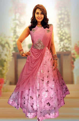 Peach Saree Gown (Raashi Khanna), Size (XS-30 to XXL-42)