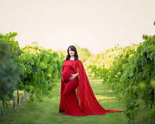 G246, Red Wine Maternity Shoot Baby Shower Trail Gown, Size (XS-30 to XXL-44)