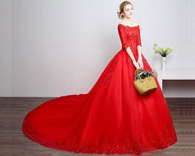 Load image into Gallery viewer, G217, Red Boat Neck Half Sleeves Long Trail Prewedding Gown Size, (XS-30 to L-38)