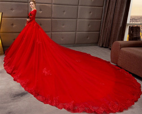 G216, Red Full Sleeves Prewedding Long Trail Gown Size, (XS-30 to XL-40)