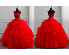 Load image into Gallery viewer, G230, Red Tub Top Ball Gown, Size (XS-30 to XL-40)