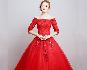 G217, Red Boat Neck Half Sleeves Long Trail Prewedding Gown Size, (XS-30 to L-38)