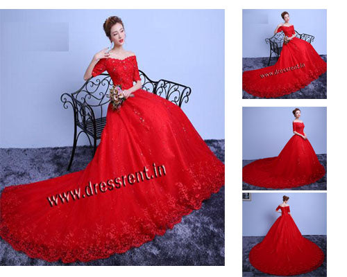 G129 (3), Red Offshoulder Infinity Prewedding Shoot Trail Ball Gown, Size (XS-30 to L-38)